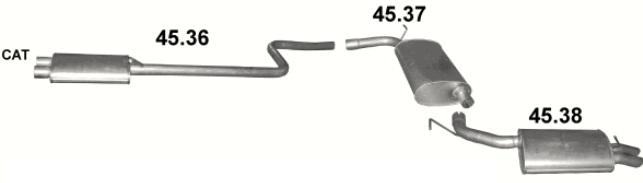 Vorder- + Mittel- + Endschalldämpfer