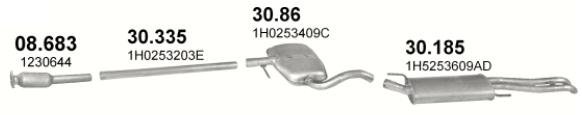 Katalysatorersatzschalldämpfer + Rohr + Schalldämpfer